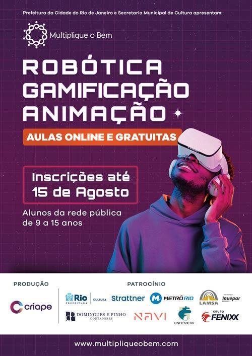 Oficinas virtuais gratuitas de robótica, games e animação para alunos da rede pública